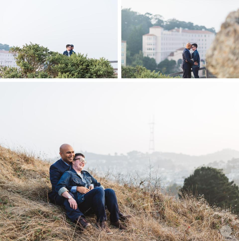 epic wide shots of canoodling married couple in corona heights park san francisco