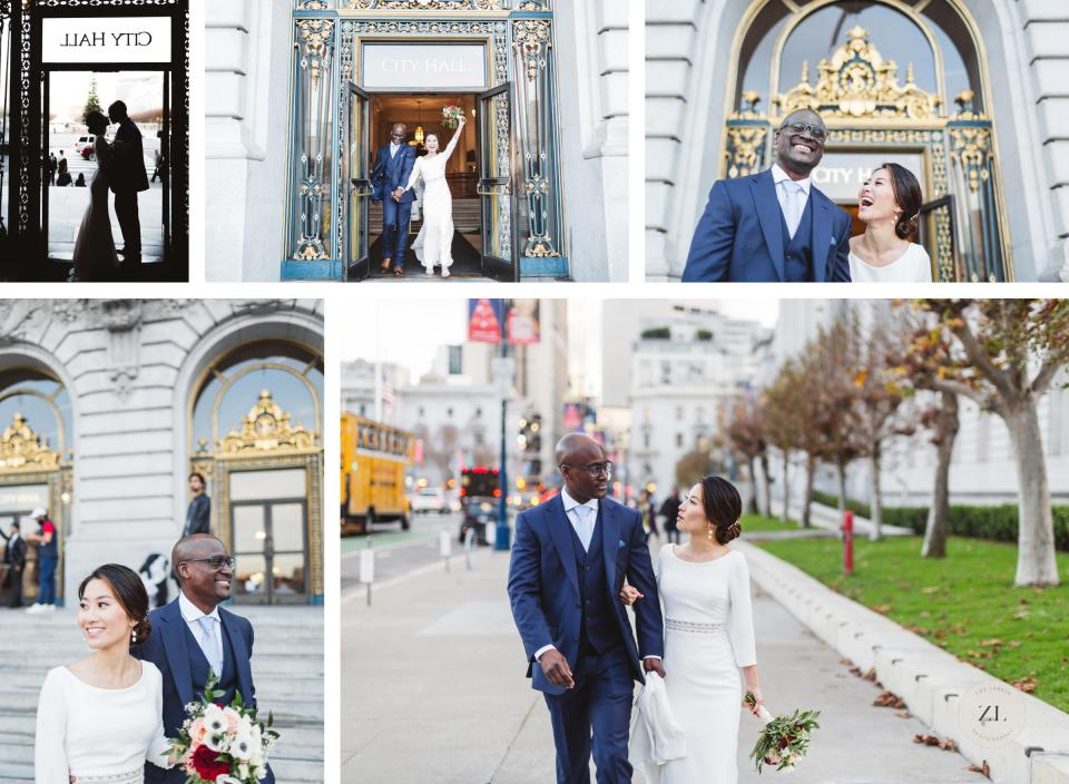 relaxed newlyweds leaving sf city hall after wedding and walking down the street