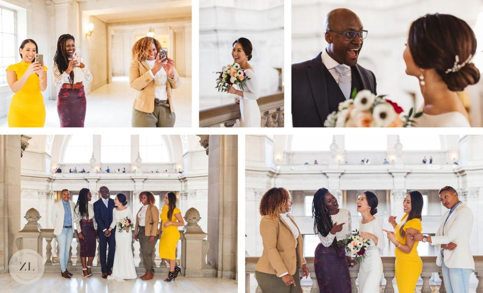 goofy and relaxed portrait session at san francsco city hall wedding 3rd floor
