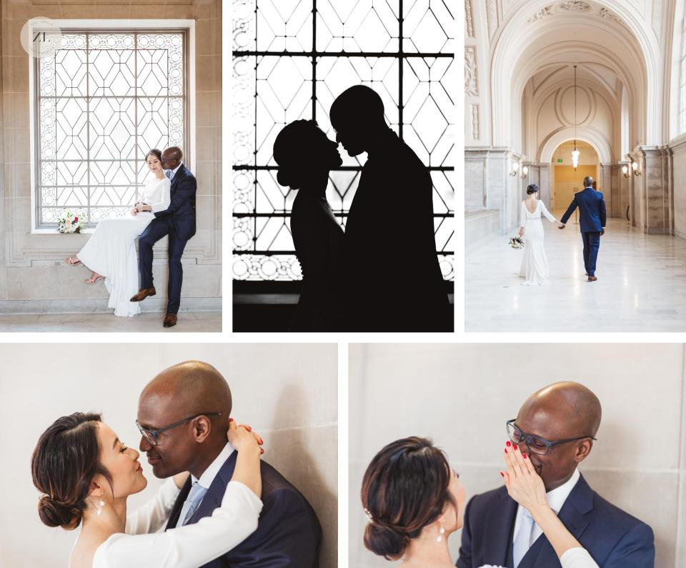 japanese and nigerian couple portrait session on 4th floor san francisco city hall