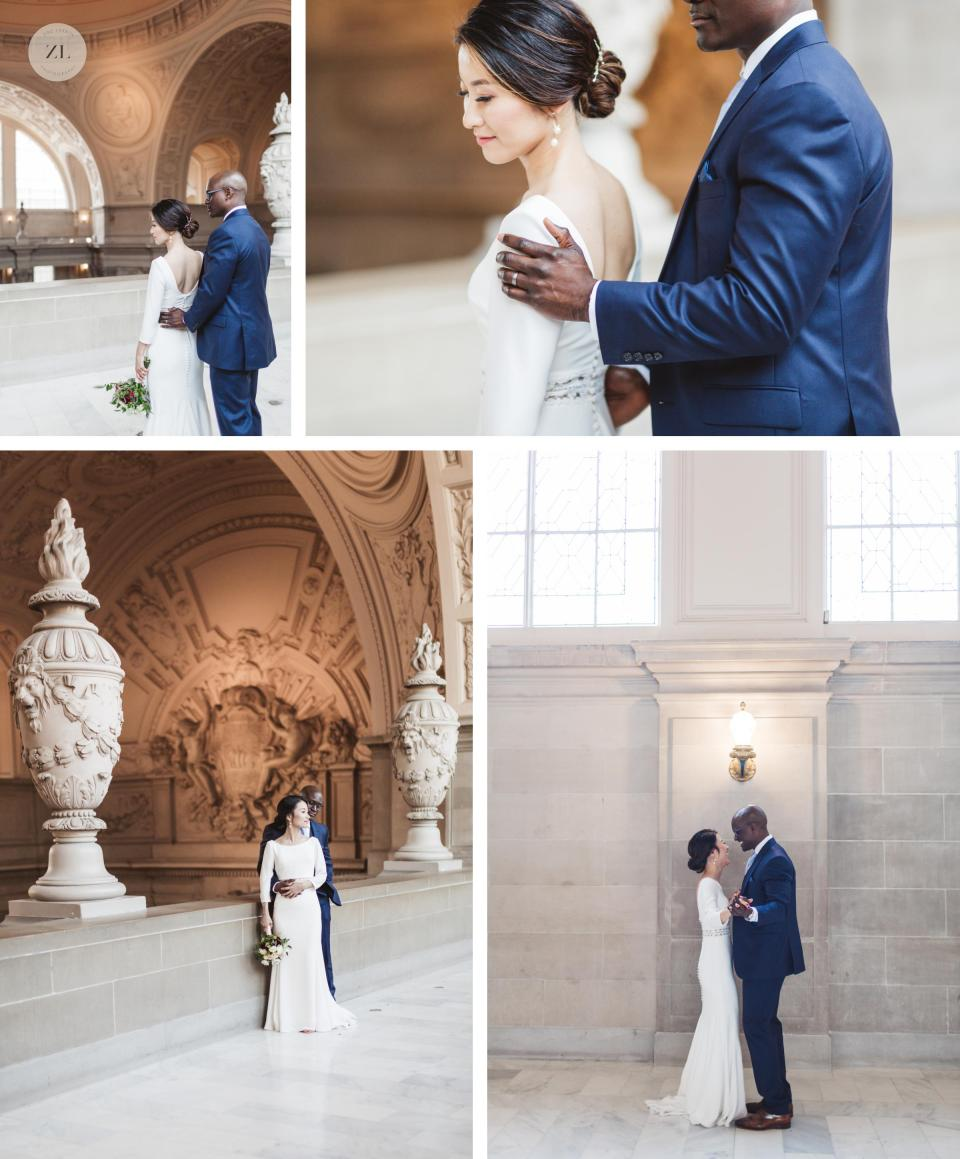 sweet asian and black couple wedding portraits on 4th floor city hall with relaxed and candid style
