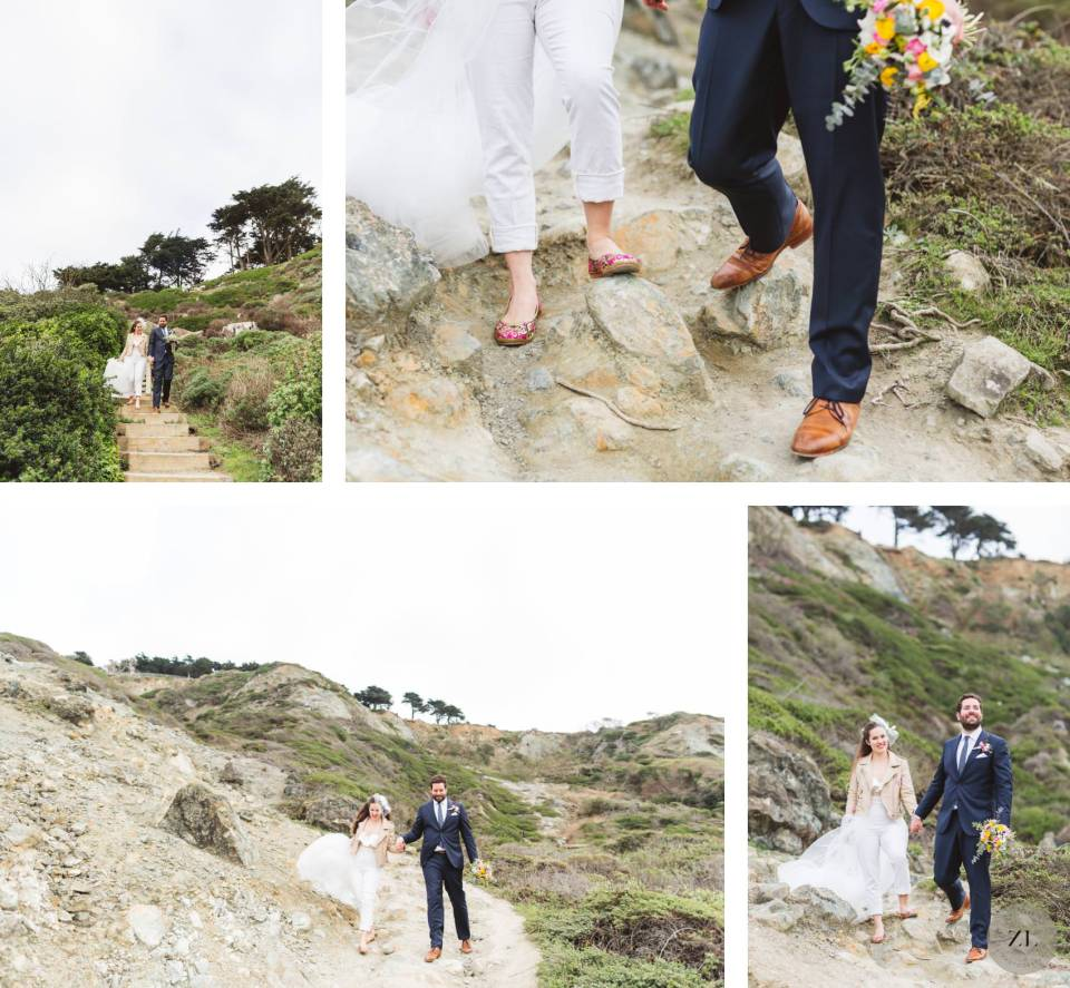 Marshall's Beach wedding photos with a couple that eloped in San Francisco, hiking down to the beach in their wedding outfits