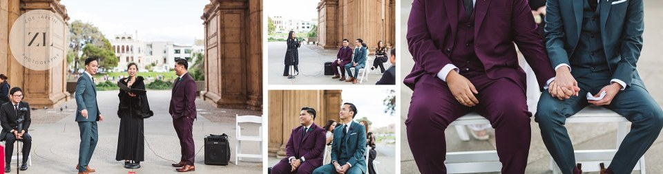 close ups from wedding ceremony at san francisco palace of fine arts lgbt wedding