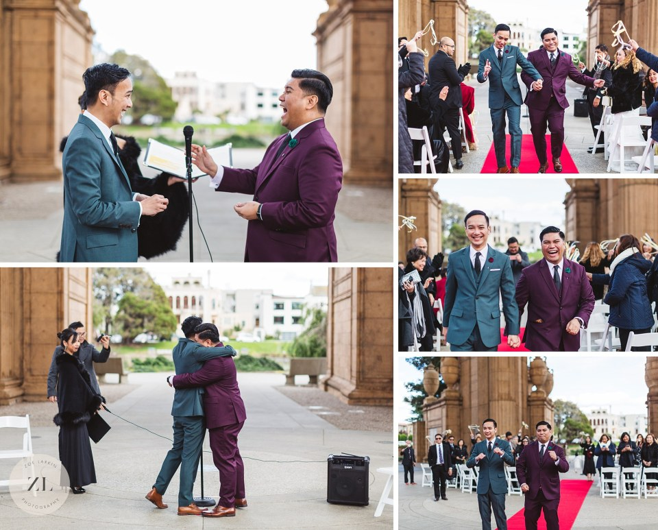 joyful gay wedding private ceremony at palace of fine arts destination wedding photography