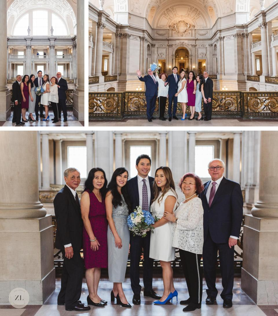 San Francisco City Hall family wedding photos 3rd floor