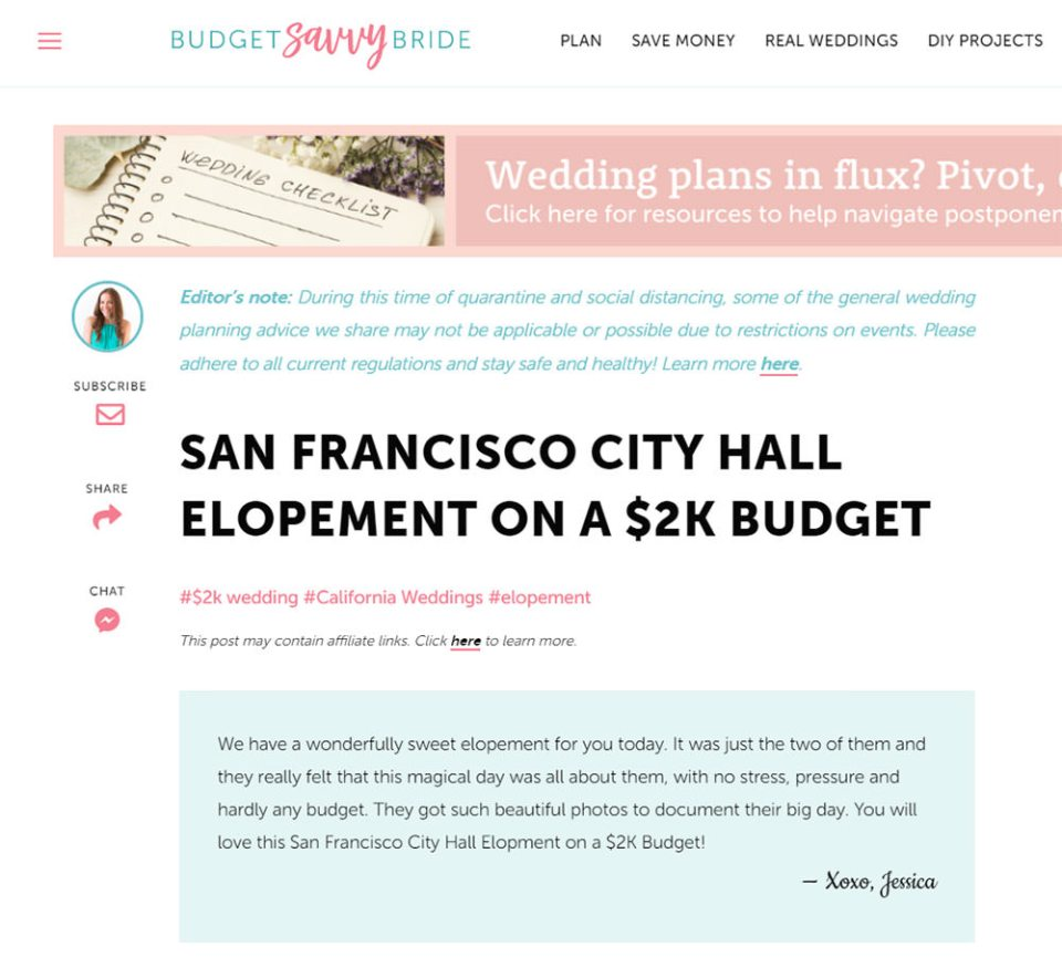 Zoe Larkin Photography SF City Hall wedding featured on Budget Savvy Bride