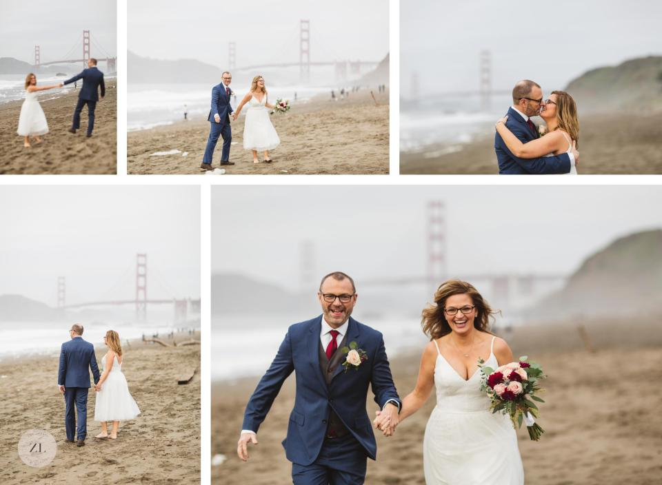 san francisco city hall couples pictures on baker beach collage