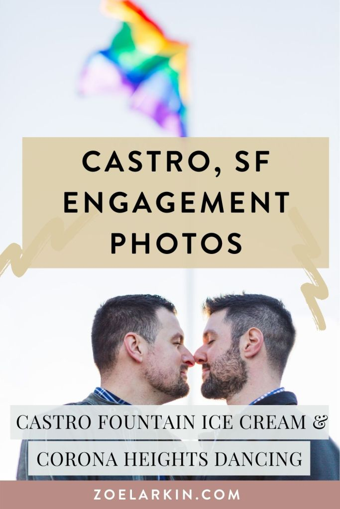 An amazingly fun engagement shoot in the Castro District of San Francisco with Edu + Dieter, a fun-loving couple with a love of aviation, rainbows and dancing. Novel ideas for LGBTQ+ couples that want to do something different for their Bay Area engagement shoot - look no further! I'd love to chat more about your engagement photography and suggest awesome ideas that are true to who you are as an engaged couple | #lgbtq #engagement #sanfrancisco #bayareawedding | Zoe Larkin Photography