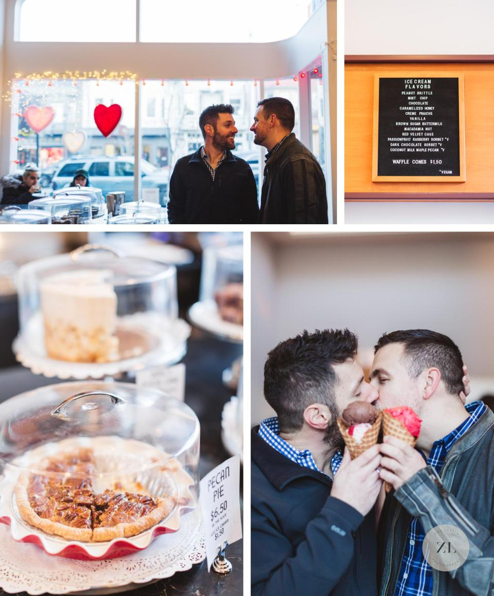 castro fountain ice cream engagement shoot with gay couple