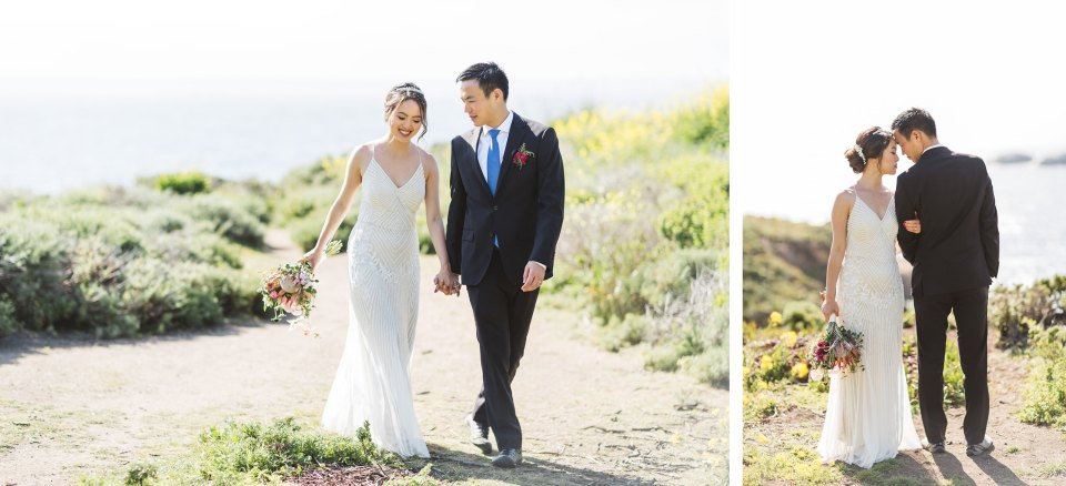 couple on monterey beach with blown out ocean showing factors that affect the look of wedding photos