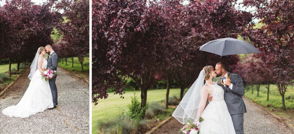 couple on rainy wedding day at monte verde inn auburn to illustrate how factors like rain affect wedding images