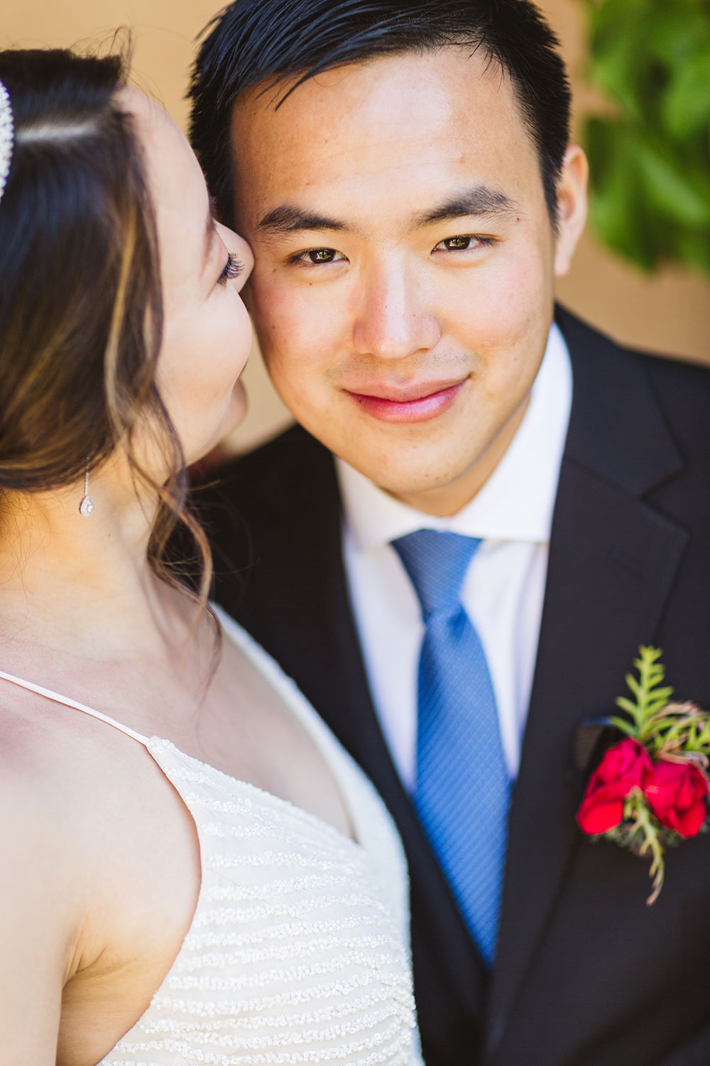 close up of groom with focus on groom