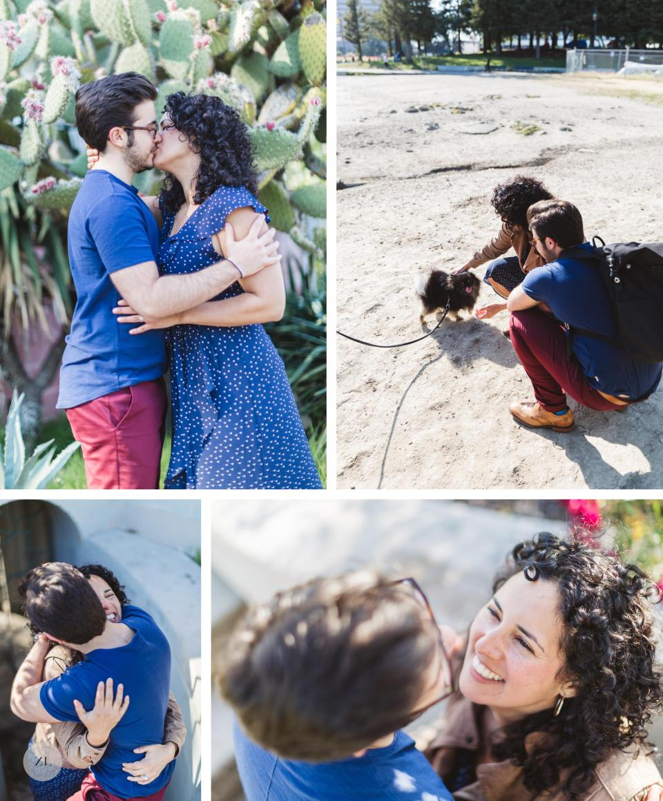 engagement photography with LGBTQ couple meeting a pomeranian dog