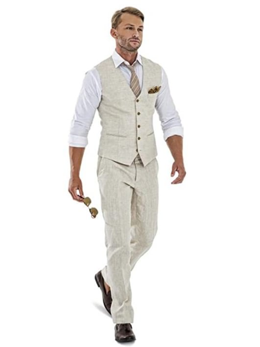 Casual Linen Beige Men's 2 Piece Suits Wedding Suits perfect for guys' engagement photography session