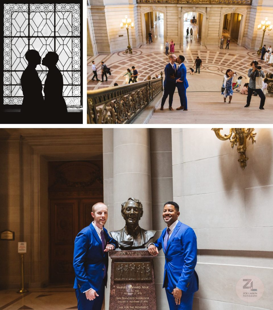 gay couple posing with harvey milk bust in san francisco city hall rotunda
