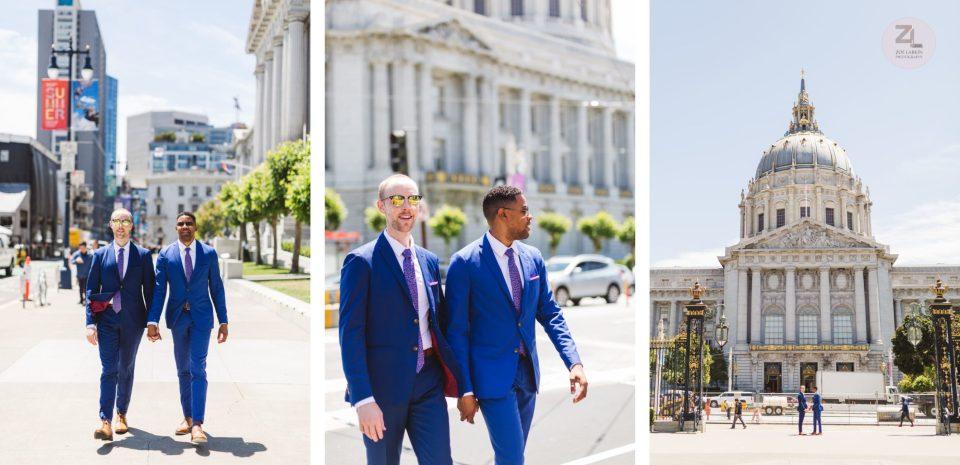 gay swirl san francisco city hall wedding couple crossing Van Ness