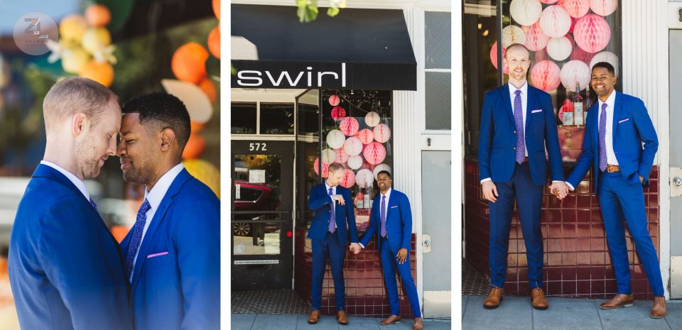 swirl wine store castro district and gay couple posing in front of it on wedding day