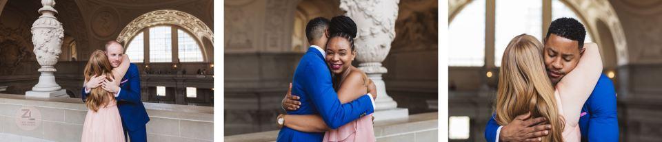 hugs after san francisco city hall wedding ceremony