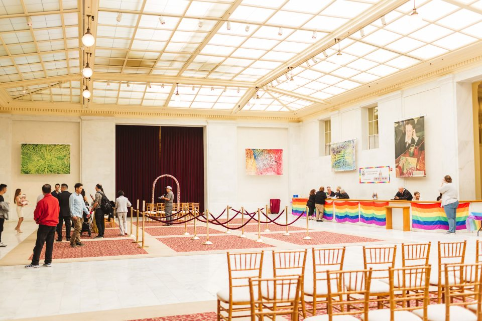 the set up in north light gallery in San Francisco City Hall during pride month