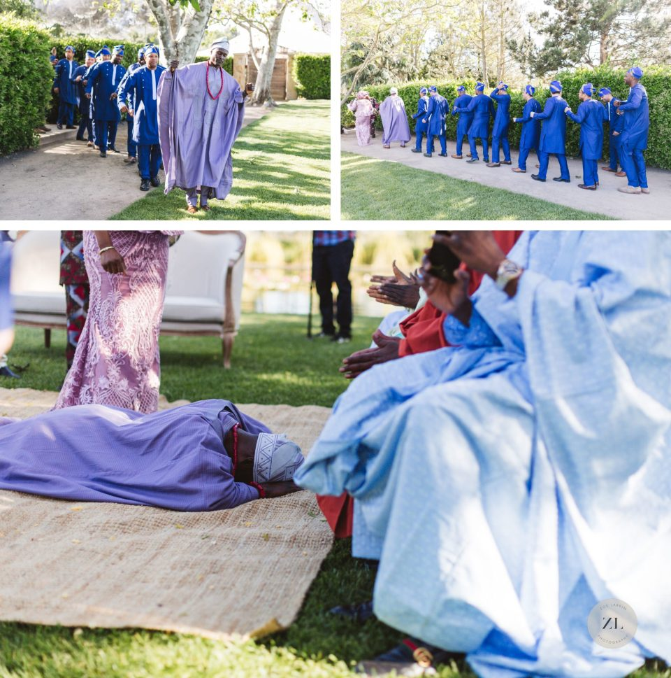 cornerstone sonoma wedding - nigerian groom prostrates himself at traditional nigerian wedding