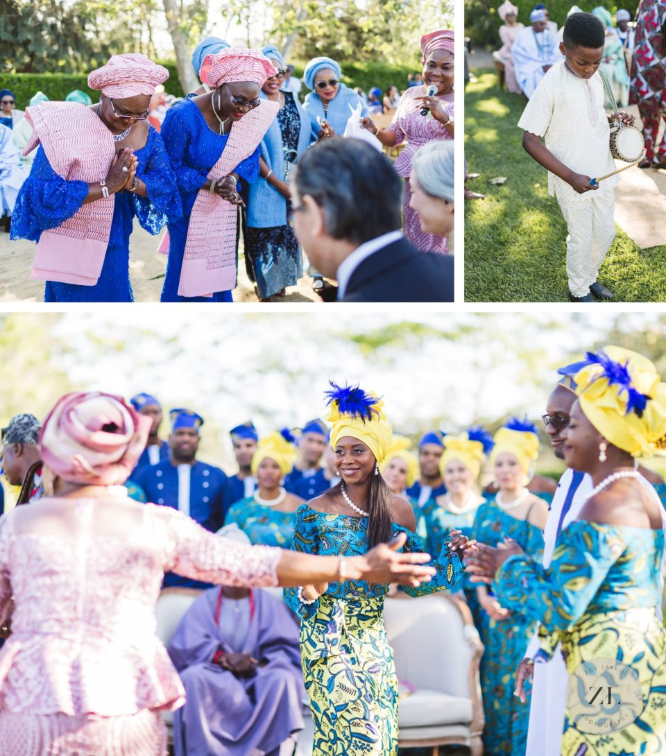 nigerian wedding officiant at cornerstone sonoma wedding as guests bless the couple