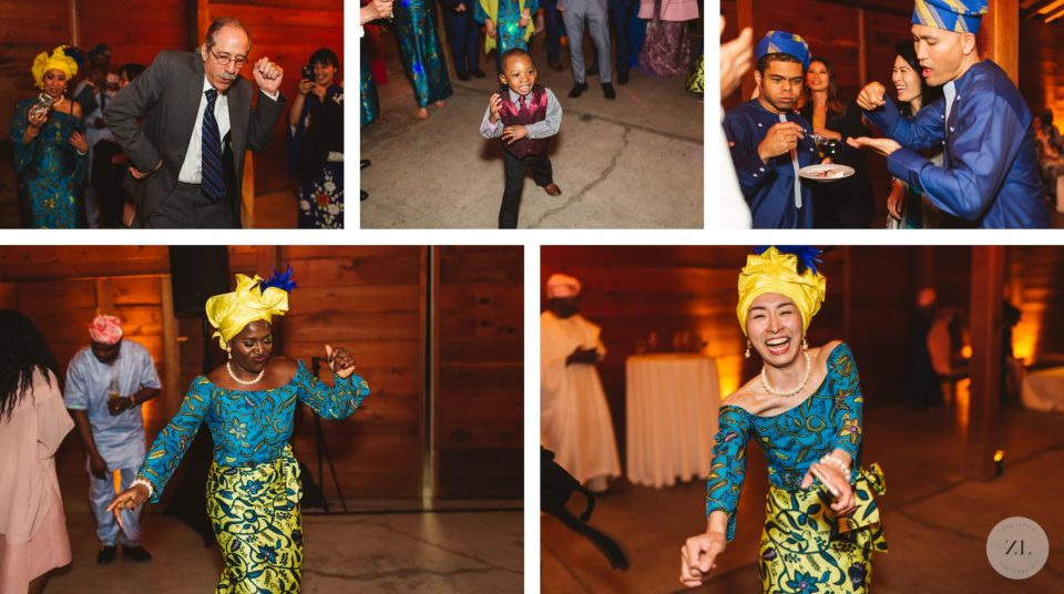 dance floor at japanese nigerian fusion wedding in cornerstone sonoma in northern california wine country