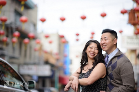couple at photoshoot in san francisco's Chinatown