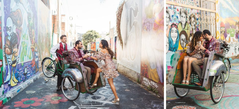couple in a becak - transportation ideas after san francisco city hall wedding