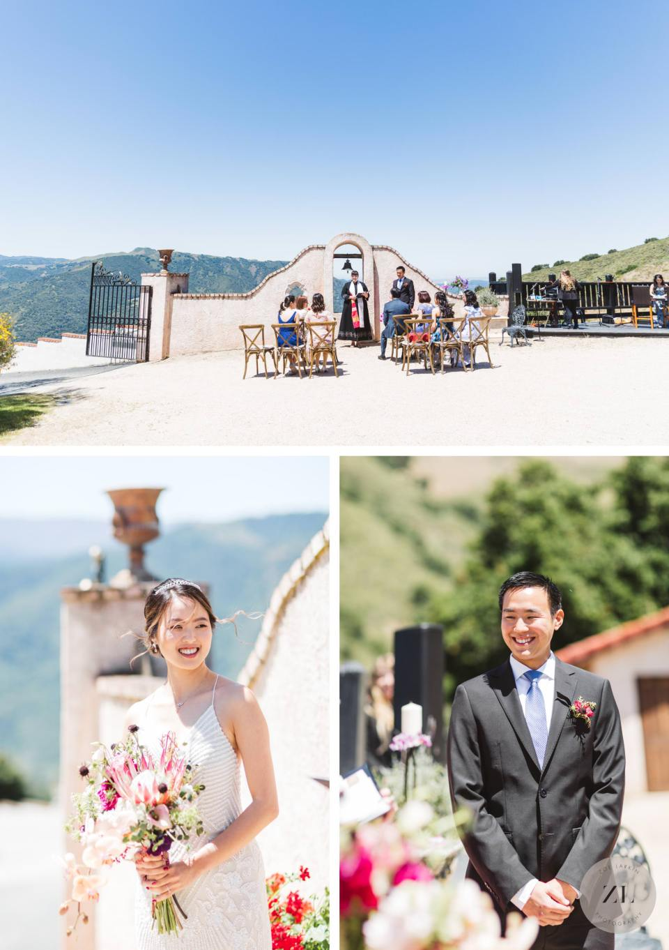 wedding ceremony at Chateau Carmel, Carmel Valley Wedding | Zoe Larkin Photography