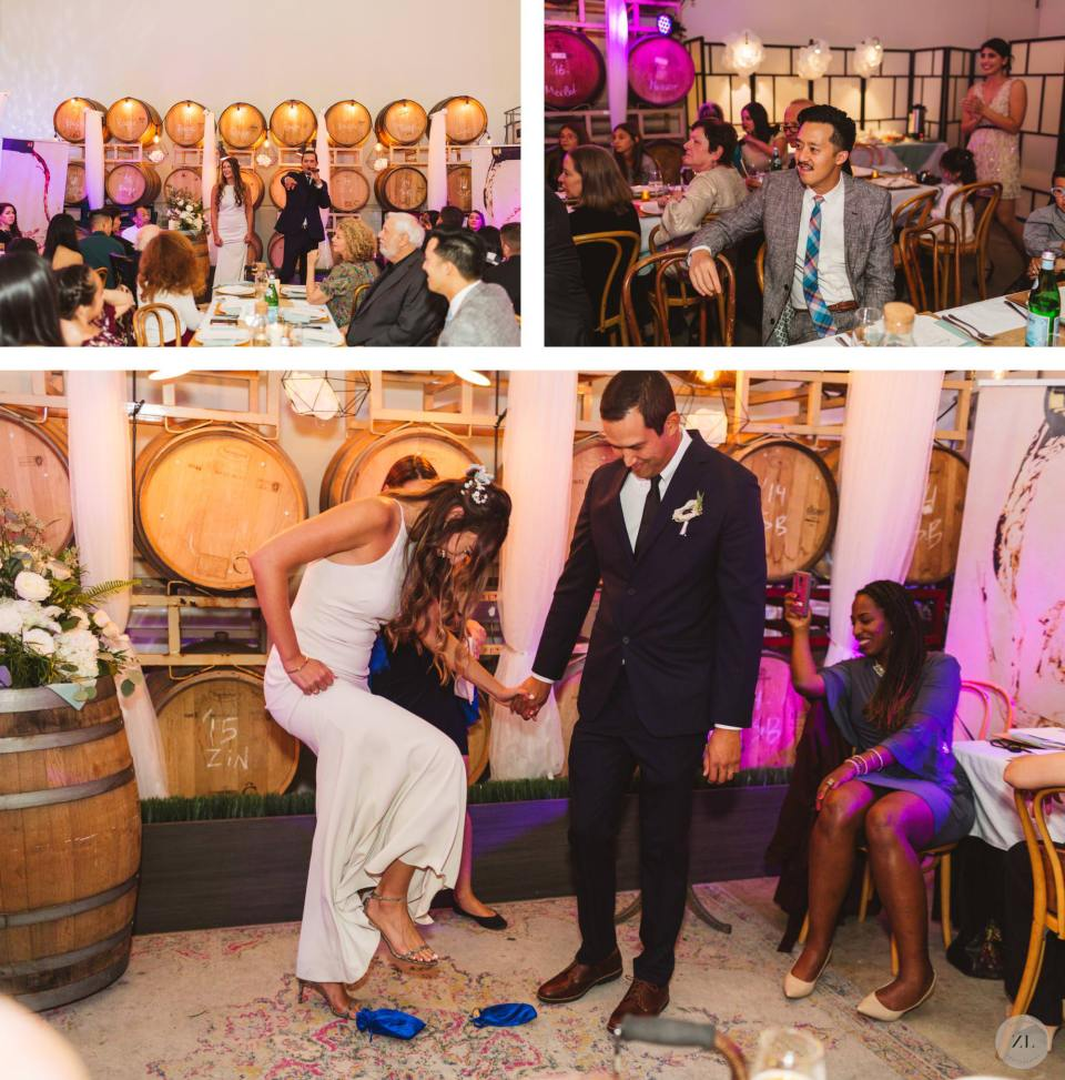 bride stomping on glass during wedding ceremony held at Eristavi Winery Wedding in San Francisco