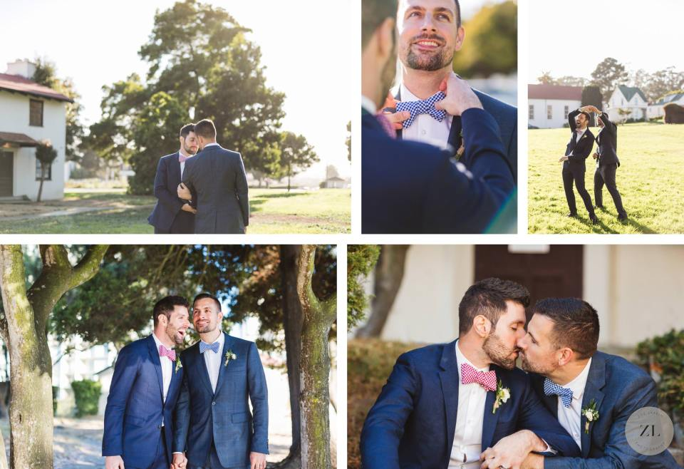 couples' portrait session at their General's Residence at Fort Mason wedding