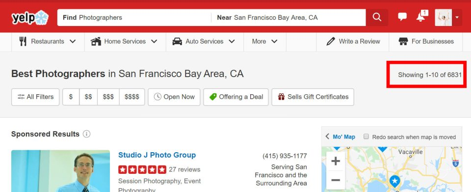 Yelp Screenshot showing how many photographers in the SF Bay Area (7,000)