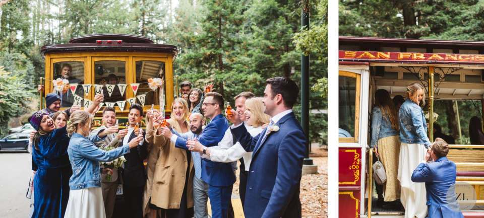 hornblower trolley at stern grove, Trocadero Clubhouse wedding - photos by Zoe Larkin Photography