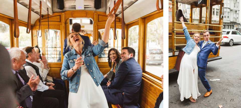 bride laughing on San Francisco Cable car after wedding at Stern Grove