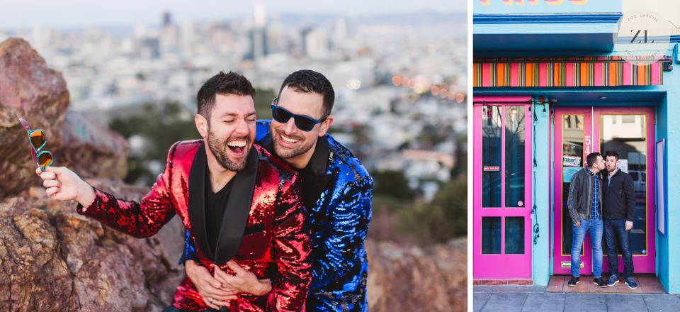 same sex LGBTQ couple having fun on their San Francisco engagement shoot | Zoe Larkin Photography