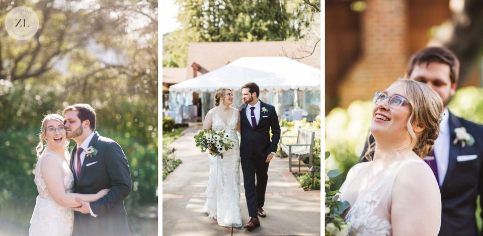 Bride and groom pulling goofy faces on their wedding day. This article explains how to get non-awkward photos on your wedding day   Zoe Larkin Photography