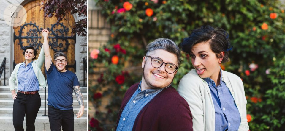 An engagement shoot couple in Oakland having fun to prepare for their wedding photography session | Zoe Larkin Photography