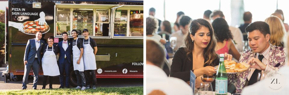 Mozzeria food truck catering a full wedding at San Francisco wedding venue the General's Residence