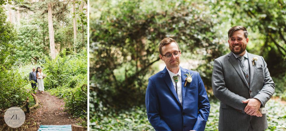 collage of groom seeing bride for the first time at Stern Grove wedding