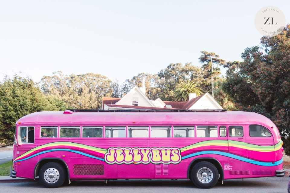San Francisco's Jellybus rented wedding transportation