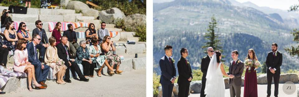 guests seated at wedding at Glacier Point Amphitheater - Zoe Larkin Photography