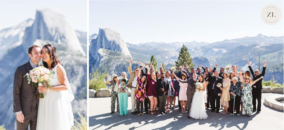 group photos at Glacier Point Amphitheater wedding