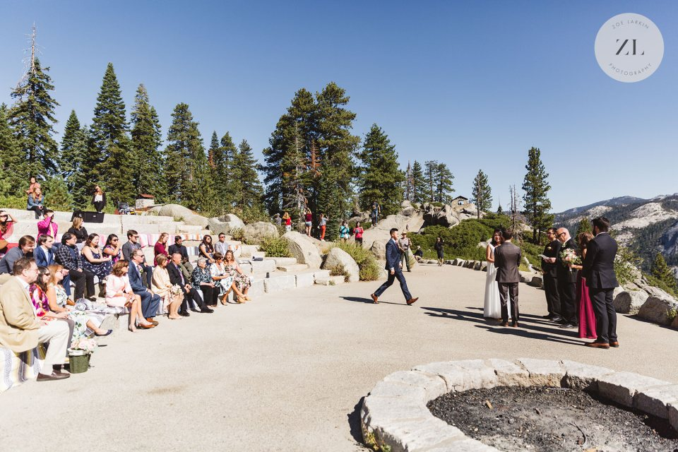 Glacier Point Amphitheater Wedding set-up showing where guests sit. Photo by Zoe Larkin Photography