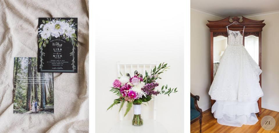 wedding details on a white background. Monte Inn wedding venue in Foresthill near Auburn. By Zoe Larkin Photography