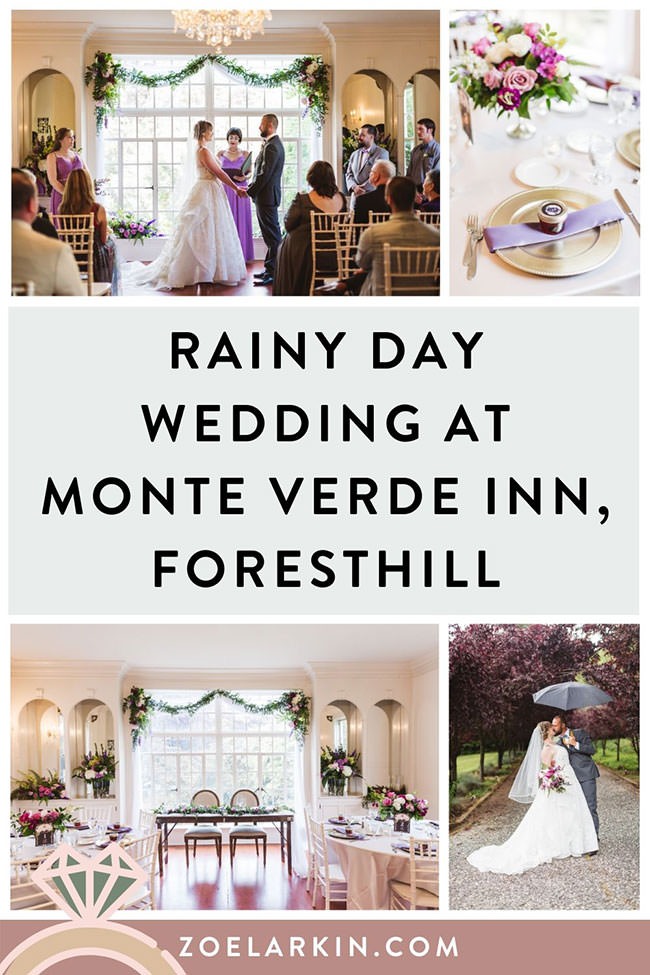 Monte Verde Inn wedding photos - this Foresthill wedding venue located near Auburn CA was the setting for L&N's rainy day wedding. Despite the rain and the need for an indoor wedding ceremony, L&N had an amazing day. The Bay Area couple wanted a wedding venue with character and charm that would host their 60-guest wedding. Monte Verde Inn was the perfect all-inclusive Northern CA wedding venue. #californiawedding #auburnca #bayarewedding #bayareaweddingphotographer | Zoe Larkin Photography