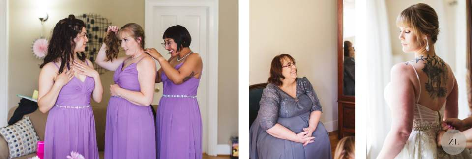 bride and bridesmaids at Monte Verde Inn wedding foresthill