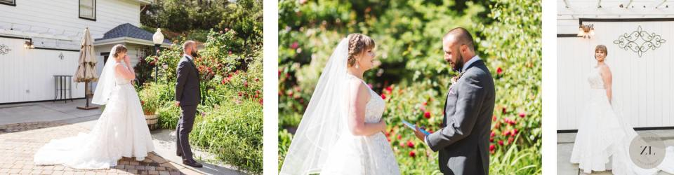 couple saying wedding vows at Monte Verde Inn wedding Zoe Larkin Photography