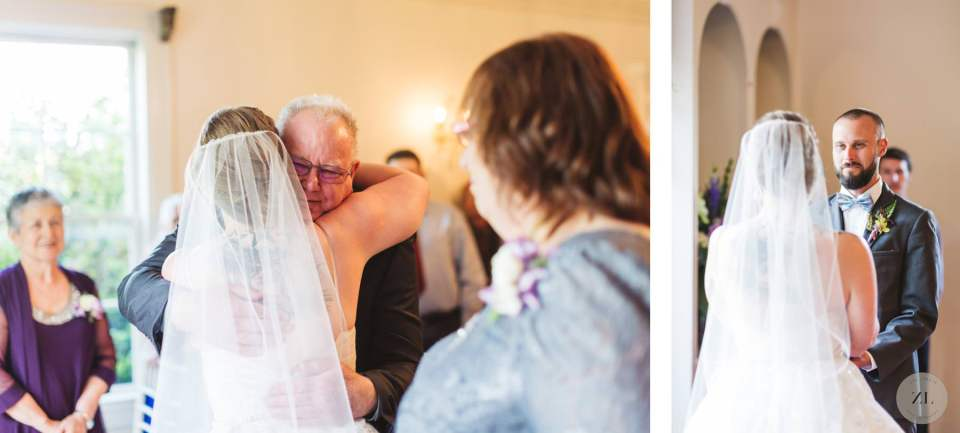 bride being handed off by dad at wedding ceremony at Monte Verde Inn Foresthill CA