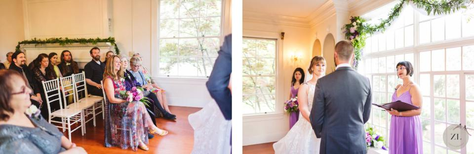 Monte Verde Inn wedding venue near Auburn CA - indoor wedding ceremony. By Zoe Larkin Photography