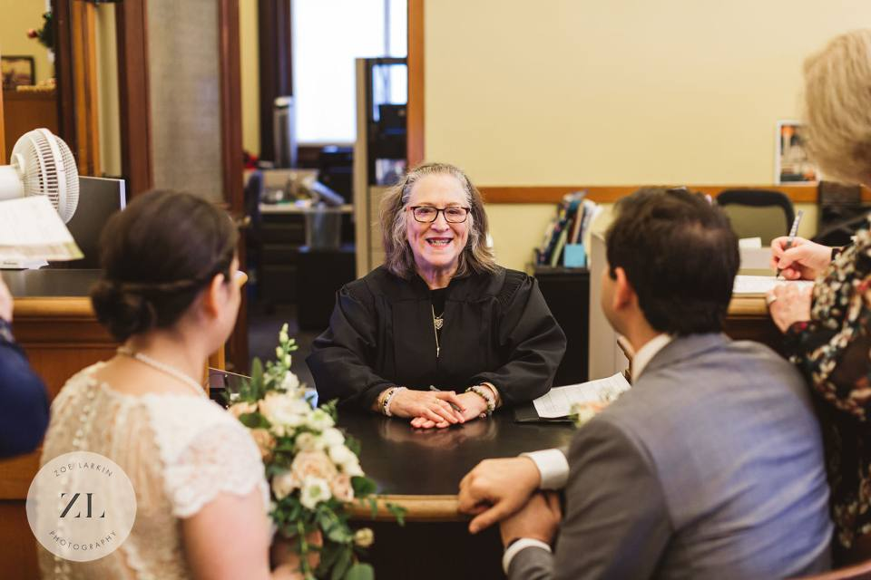 San Francisco City hall wedding vows - judge marries couples at courthouse